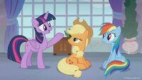 Season 8 promo image - Twilight talking to Applejack and Rainbow
