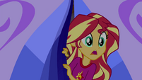 Sunset Shimmer peeking outside the Sapphire Tent EG4
