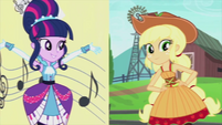 Twilight and Applejack split-screen EG2