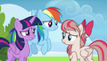 Twilight and Rainbow flattered by Angel Wings S6E24.png