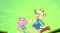 Applejack and Fluttershy on a green splashscreen EG