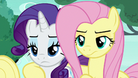 Fluttershy and Rarity Changelings look at Starlight S6E25