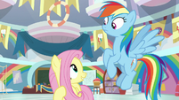 Fluttershy looking up at Rainbow Dash S9E7