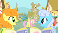 Golden Harvest and Shoeshine noticing Fluttershy S1E20.png