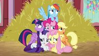 Pinkie Pie's friends cowering around her BGES2
