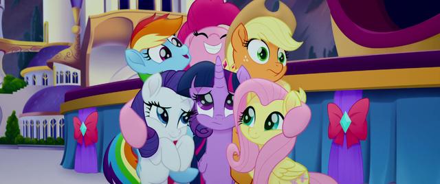 File:Pinkie Pie hugging her friends MLPTM.png