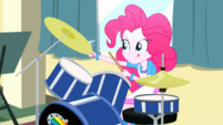 Pinkie Pie skillfully playing the drums SS10