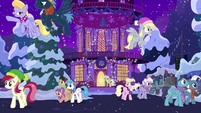 Ponies departing Town Hall MLPBGE