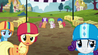 Rainbow, AJ, and Rarity look at other racers S6E14