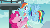 Rainbow Dash startled by Pinkie Pie S5E24