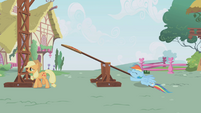 Rainbow Dash thuds on the ground S1E04