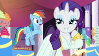 Rarity -the barest hint of floral notes and-; Rainbow shocked S5E15