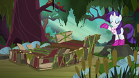 Rarity assembles raft out of bark and vines S8E17