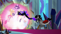 Sombra pushed back by the Mane Six's magic S9E2