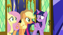 Twilight, Fluttershy, and AJ enter throne room S8E23