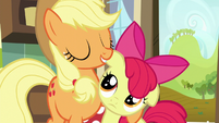 Applejack hugs Apple Bloom S5E17