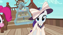 Elegant Rarity staring straight at Applejack S6E22