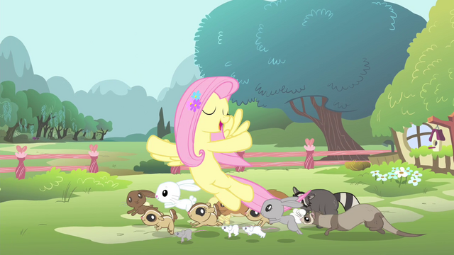 File:Fluttershy with her animal friends S4E14.png