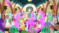 Mane Six and Spike teleport on the train S9E26