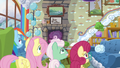 Rainbow and the Shys watch Zephyr go upstairs S6E11.png