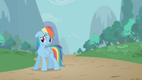 Rainbow sad about leaving Pinkie behind S1E05