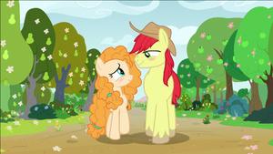 S07S13 Bright Mac i Pear Butter idą przez sad patrząc na siebie