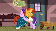 Starlight Glimmer and Sunburst hugging S7E24