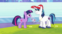 Twilight and Shining Armor on racetrack S3E12