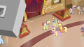 AJ, Fluttershy, Flim, and Flam hear another announcement S6E20.png