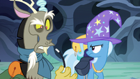 Discord takes a rubber wand out of Trixie's bag S6E25