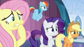 Fluttershy, Rainbow, Rarity, and AJ worried S6E2.png