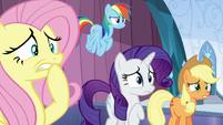 Fluttershy, Rainbow, Rarity, and AJ worried S6E2