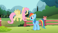 Fluttershy poke Rainbow nose S2E7.png