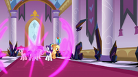 Mane Six teleport into Canterlot Castle S9E2