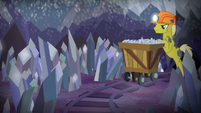 Miner pony pushing a cart of silver S9E5