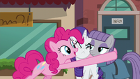 Pinkie Pie hugs Maud and Rarity S6E3