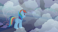 Rainbow Dash looking into the fog S1E02