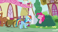 Rainbow Dash thanks Pinkie for the custard pie S7E23