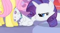 Rarity pouts angrily at Opal S01E17