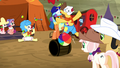 Rodeo clowns crash into each other S5E6.png