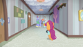 Scootaloo follows Bow and Windy down another hallway S7E7.png