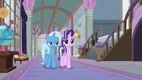 Starlight and Trixie walk through the school S9E20