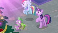 Twilight, Dash, and Spike see the Fire burning S8E16