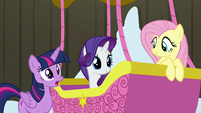 Twilight, Rarity, and Fluttershy ready to leave S7E11