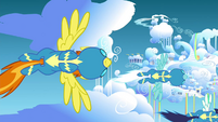 Wonderbolts flying down to Cloudsdale S4E26