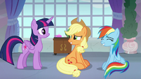 AJ and Rainbow grinning at Twilight S8E9