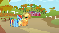 Applejack challenging Rainbow Dash S1E13