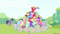 Big McIntosh getting swarmed by ponies S2E3.png
