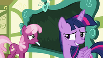 Cheerilee using chalk; Twilight looking embarrassed S7E3