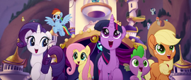 Main five and Spike singing together MLPTM